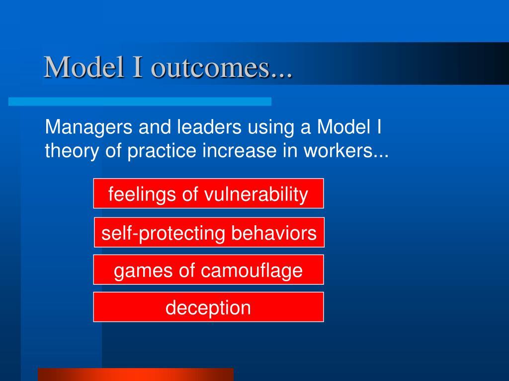 Model I outcomes...