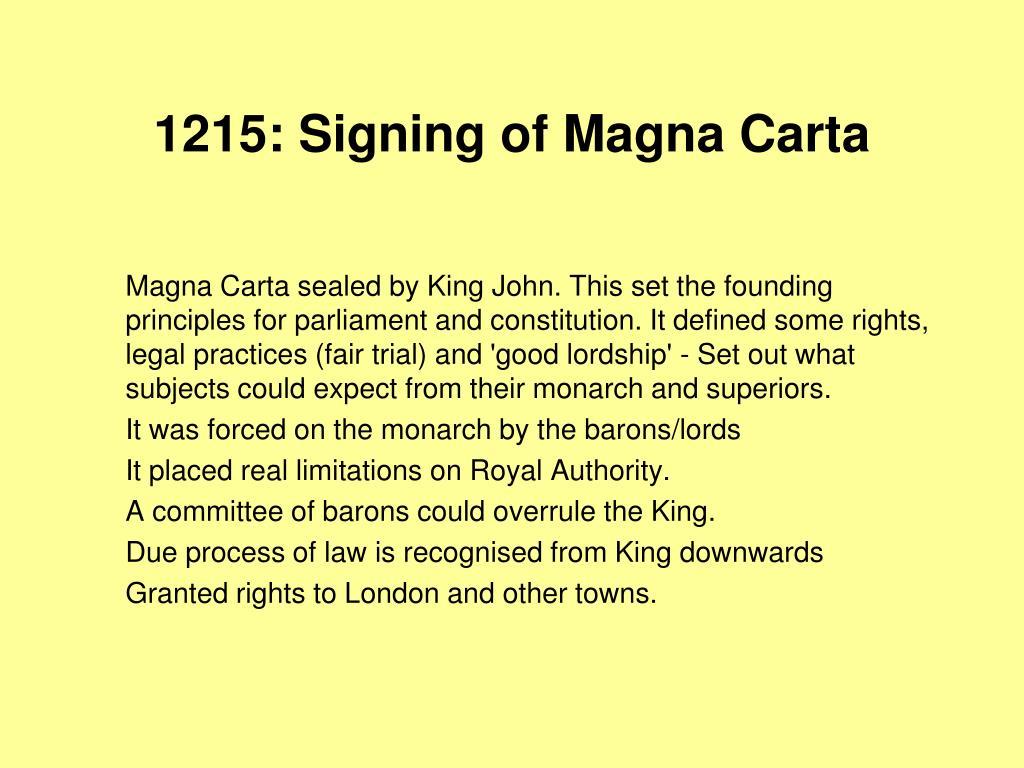 1215: Signing of Magna Carta