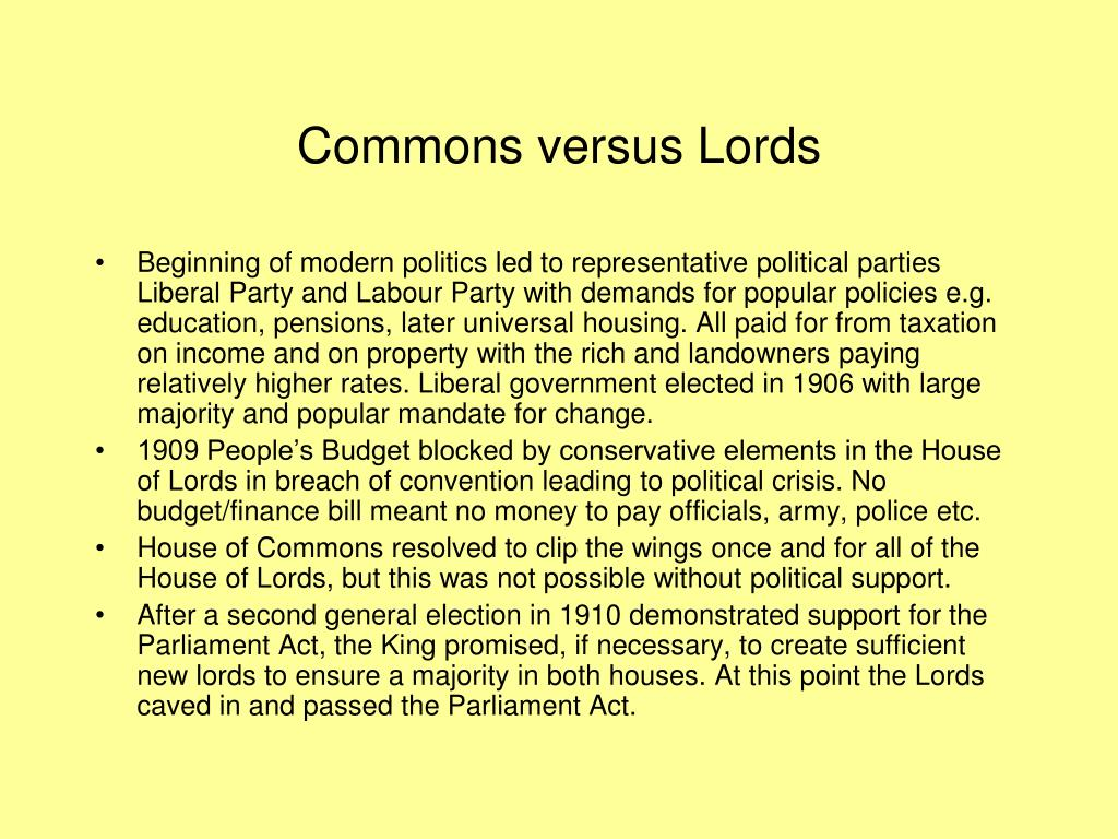 Commons versus Lords