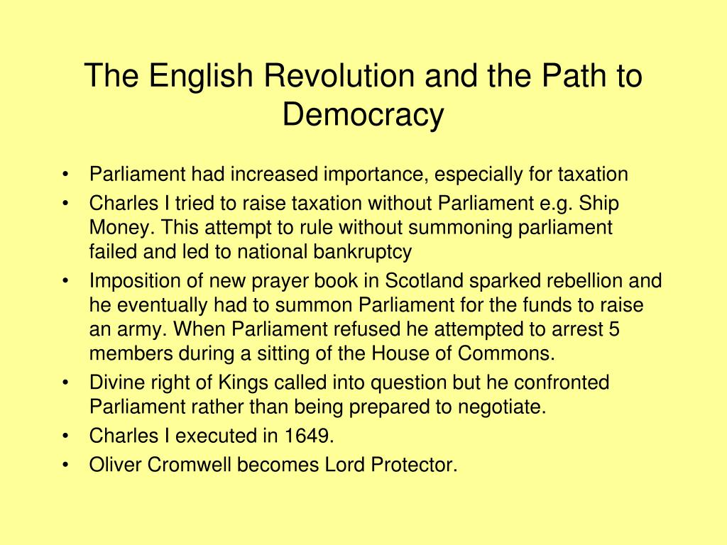 The English Revolution and the Path to Democracy