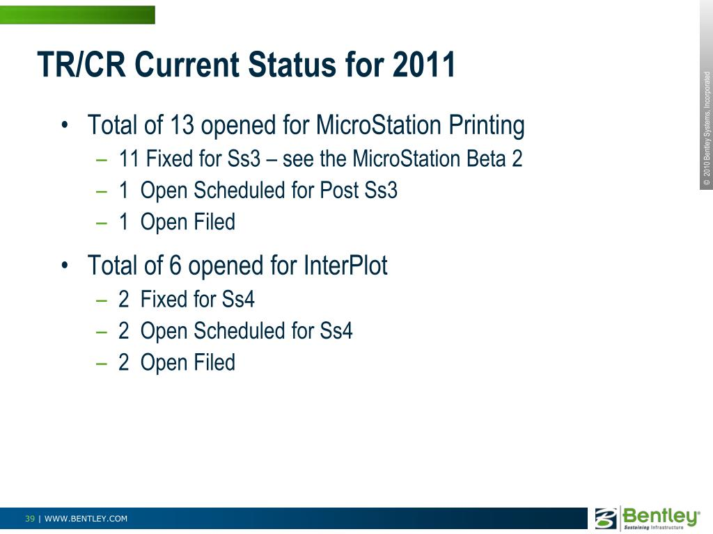 TR/CR Current Status for 2011