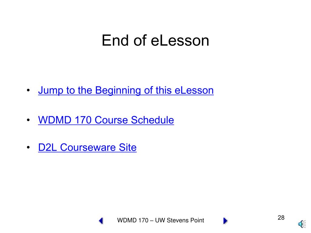 End of eLesson