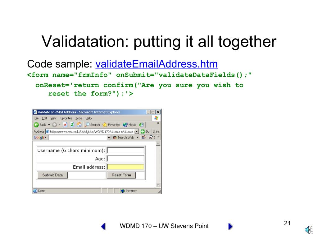 Validatation: putting it all together