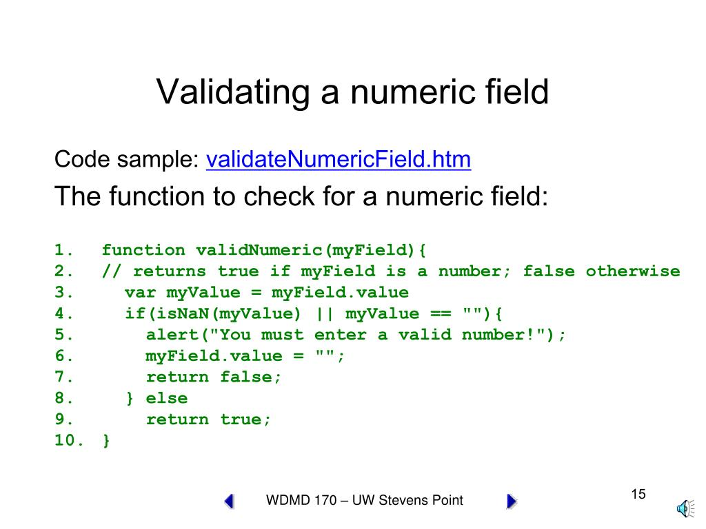 Validating a numeric field
