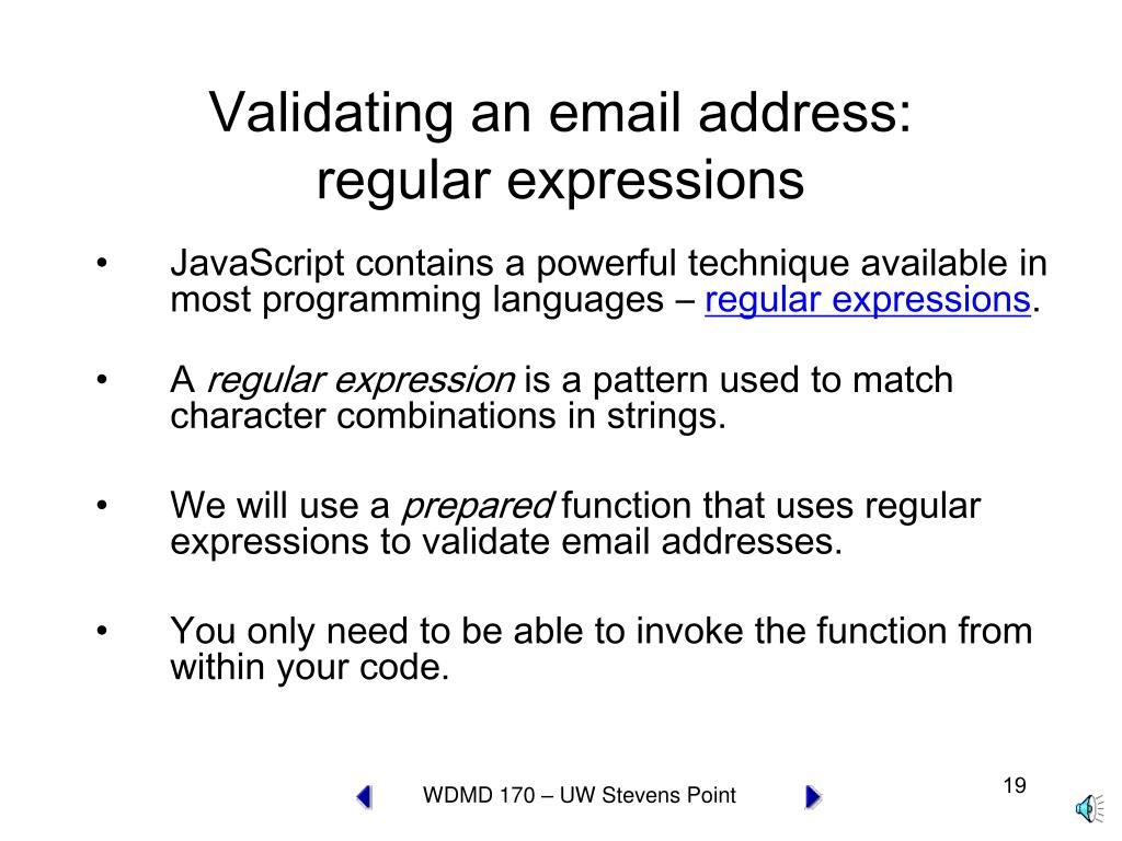 Validating an email address: