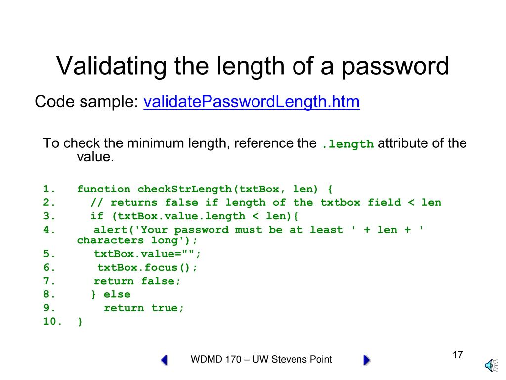 Validating the length of a password