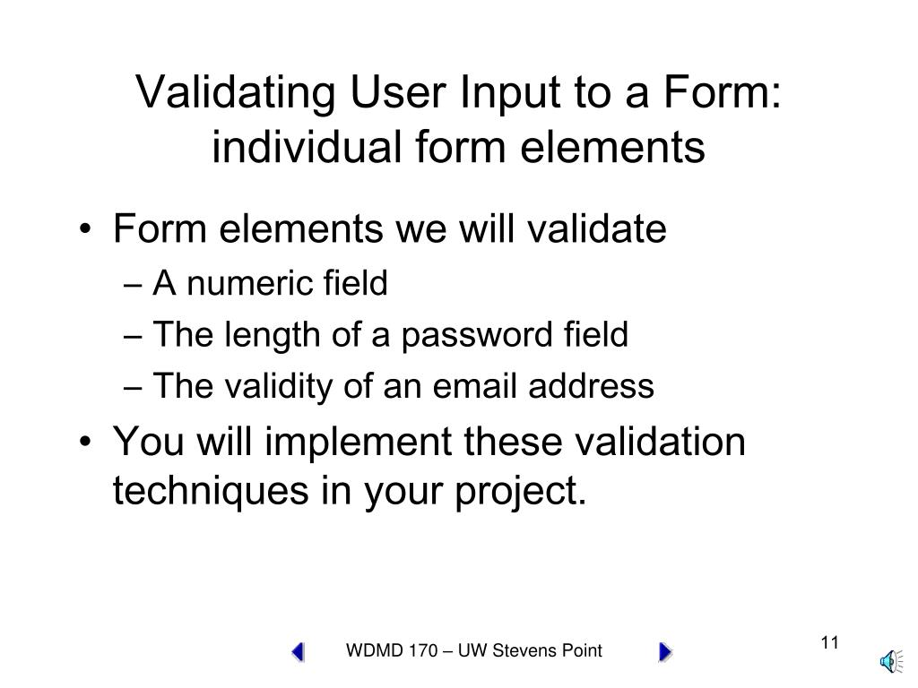 Validating User Input to a Form: individual form elements