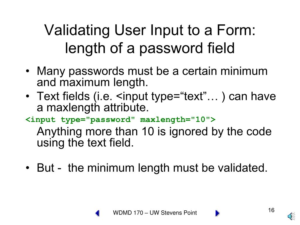 Validating User Input to a Form: