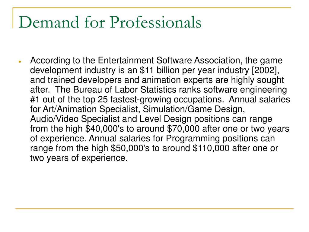 Demand for Professionals