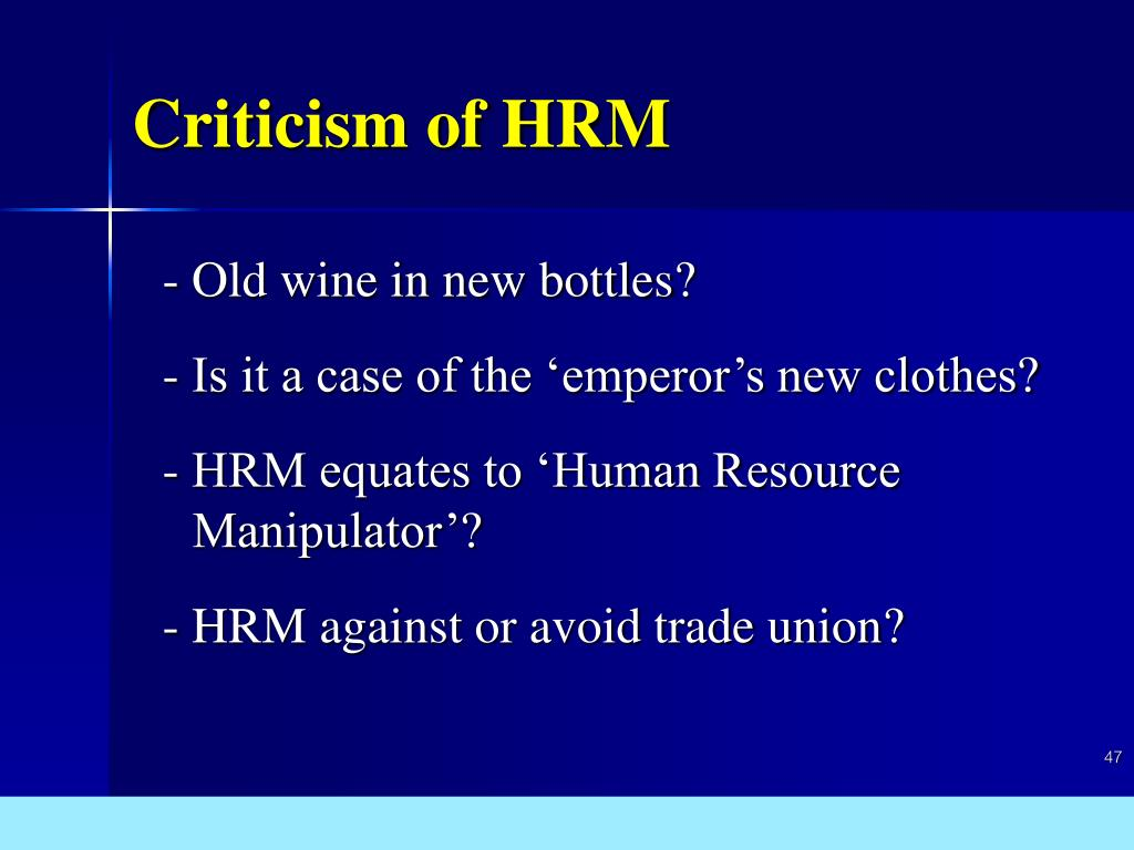 Criticism of HRM