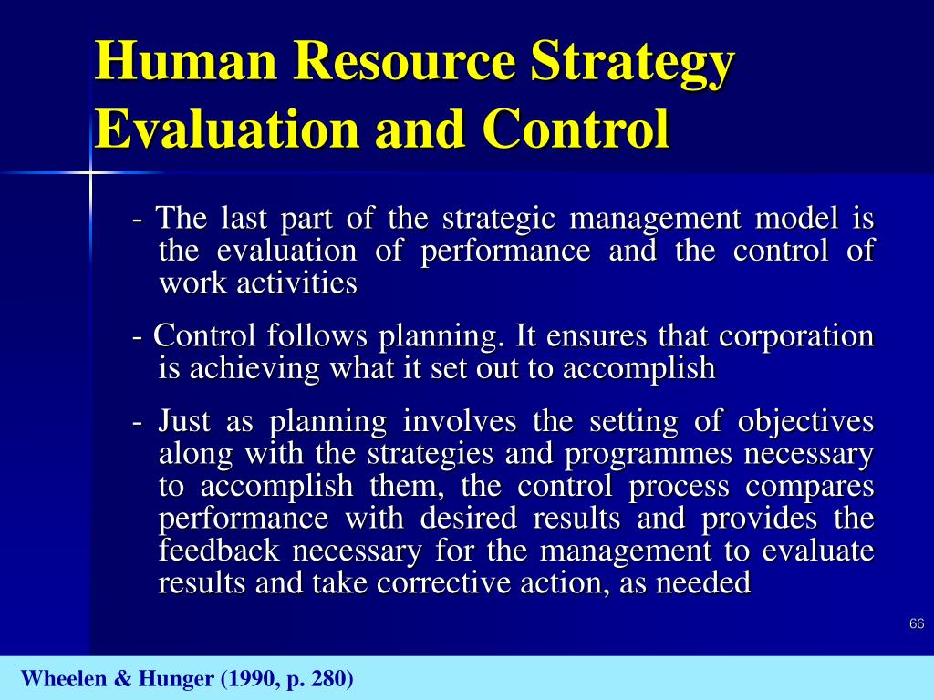 Human Resource Strategy Evaluation and Control