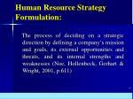 human resource strategy formulation