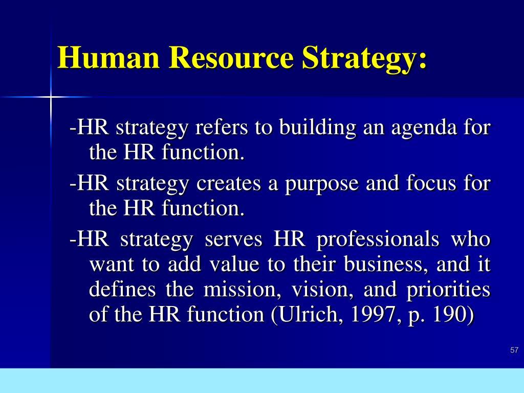Human Resource Strategy: