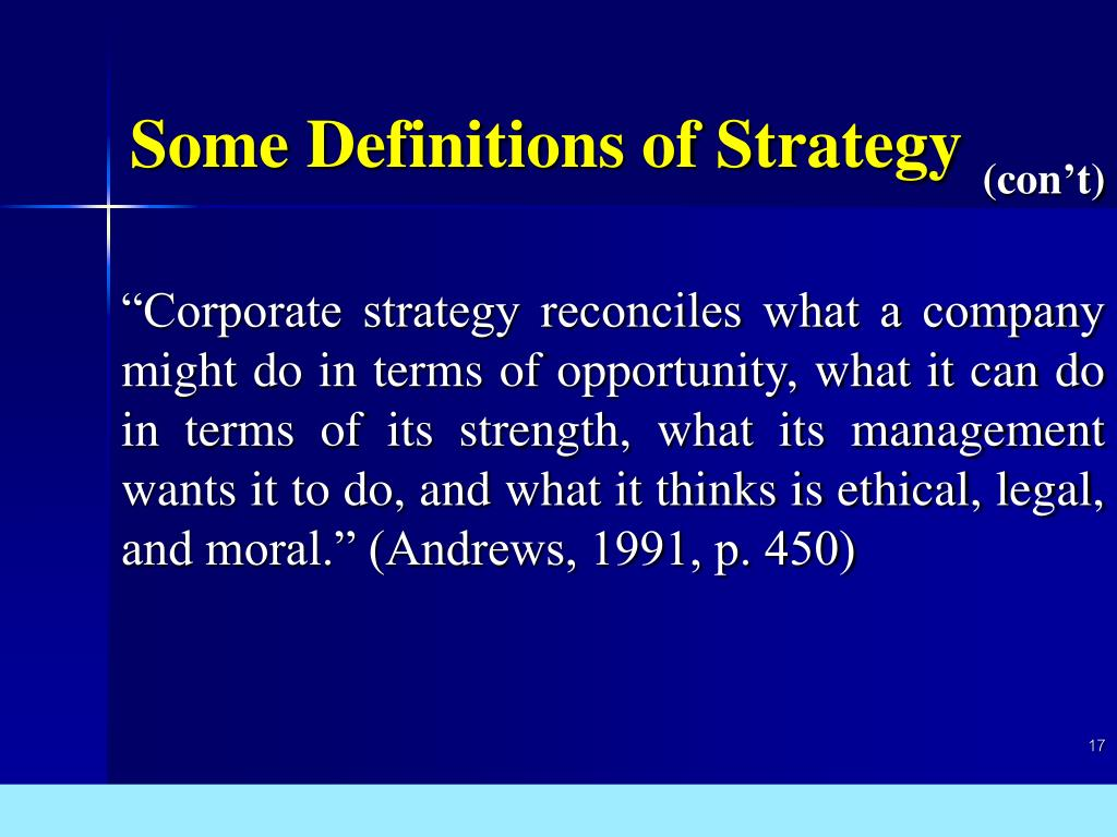 """""""Corporate strategy reconciles what a company might do in terms of opportunity, what it can do in terms of its strength, what its management wants it to do, and what it thinks is ethical, legal, and moral."""" (Andrews, 1991, p. 450)"""