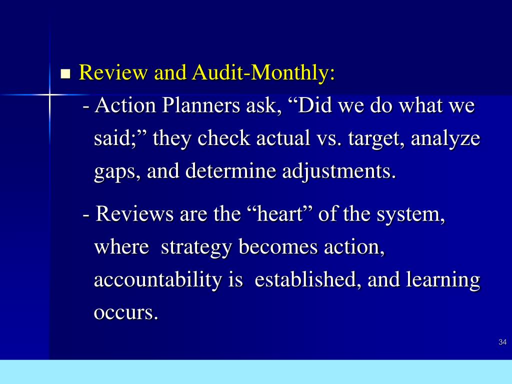 Review and Audit-Monthly: