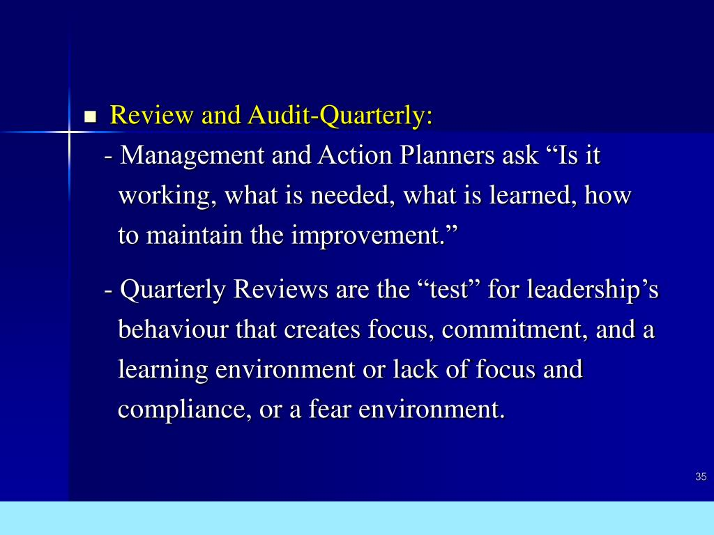 Review and Audit-Quarterly:
