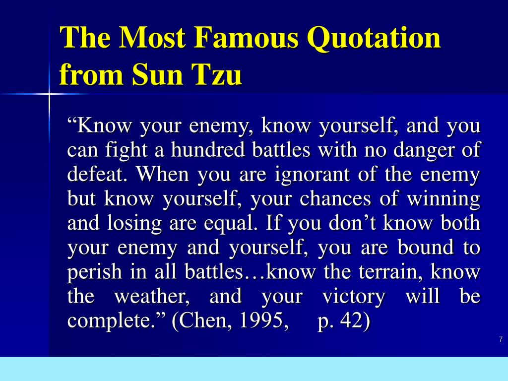 The Most Famous Quotation from Sun Tzu
