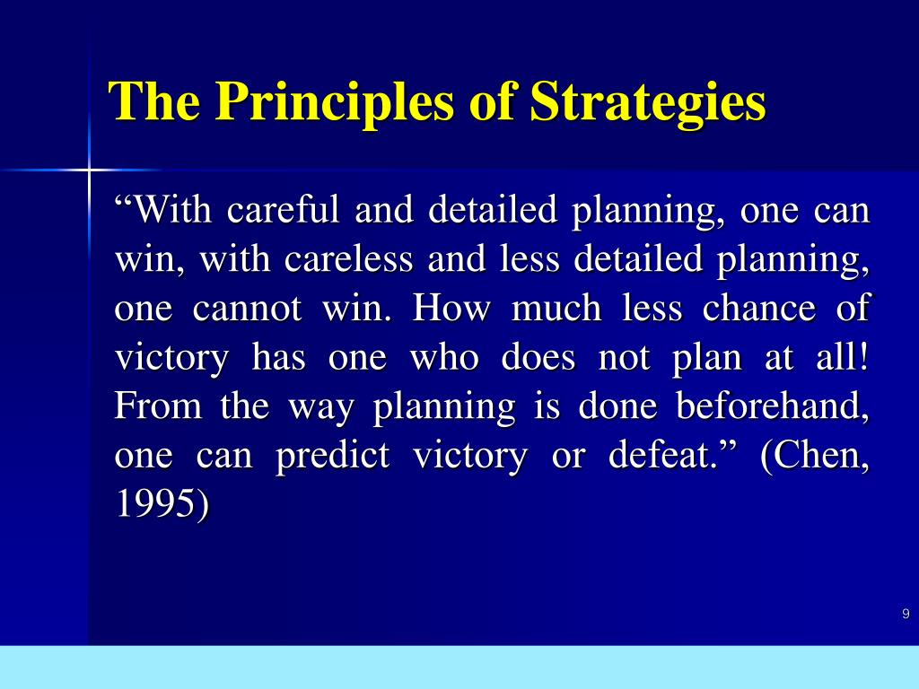 The Principles of Strategies