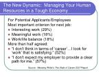 the new dynamic managing your human resources in a tough economy6