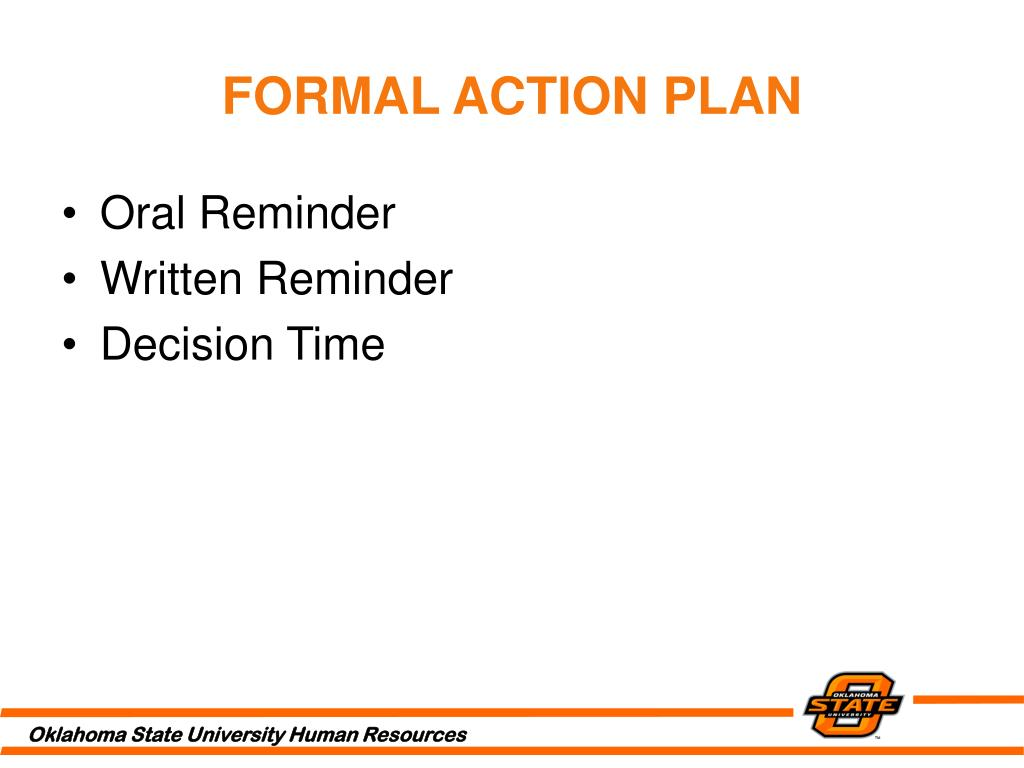 FORMAL ACTION PLAN