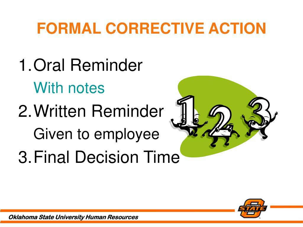FORMAL CORRECTIVE ACTION