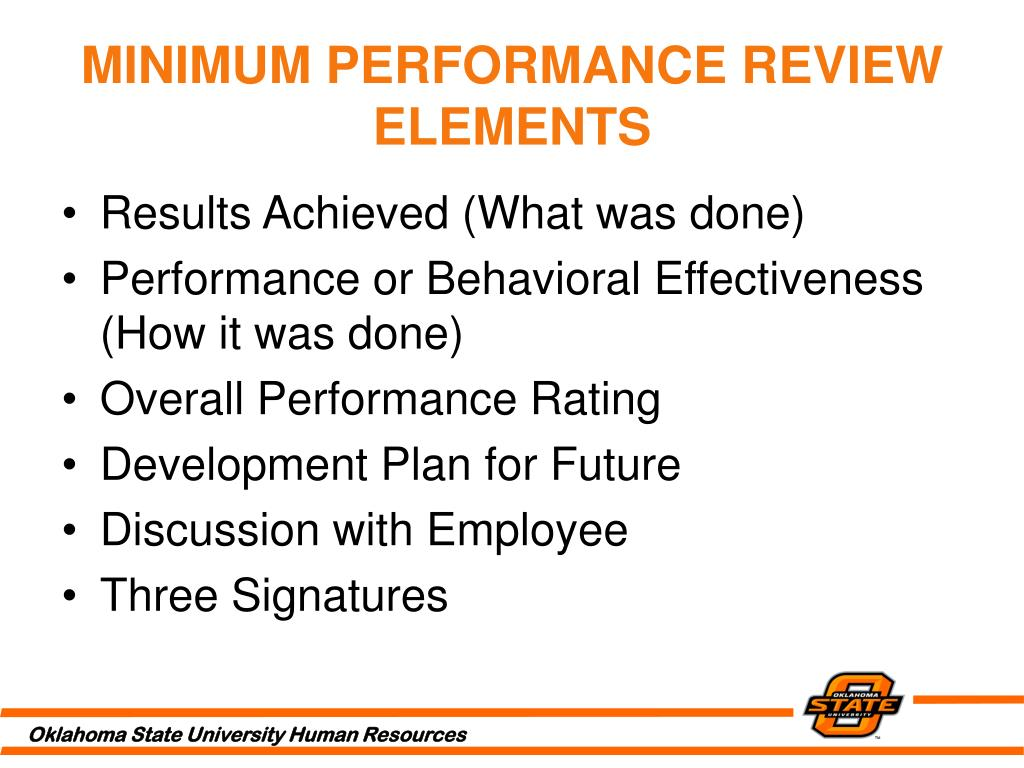MINIMUM PERFORMANCE REVIEW ELEMENTS