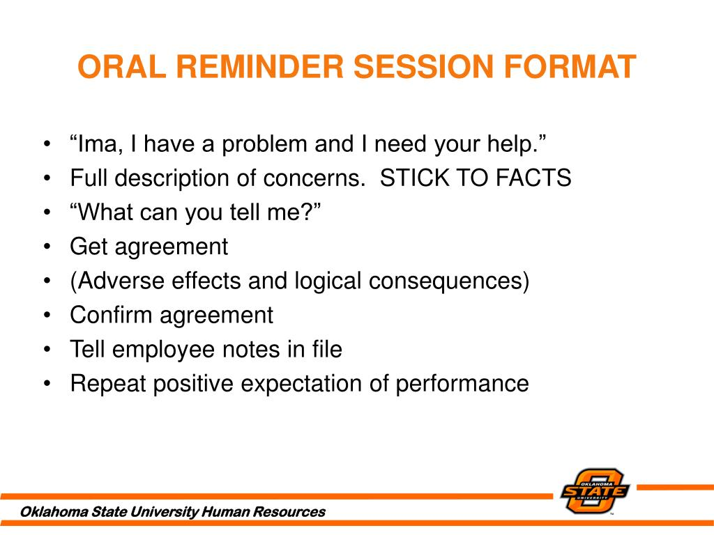 ORAL REMINDER SESSION FORMAT