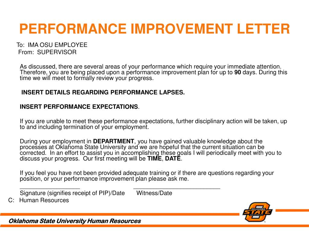 PERFORMANCE IMPROVEMENT LETTER