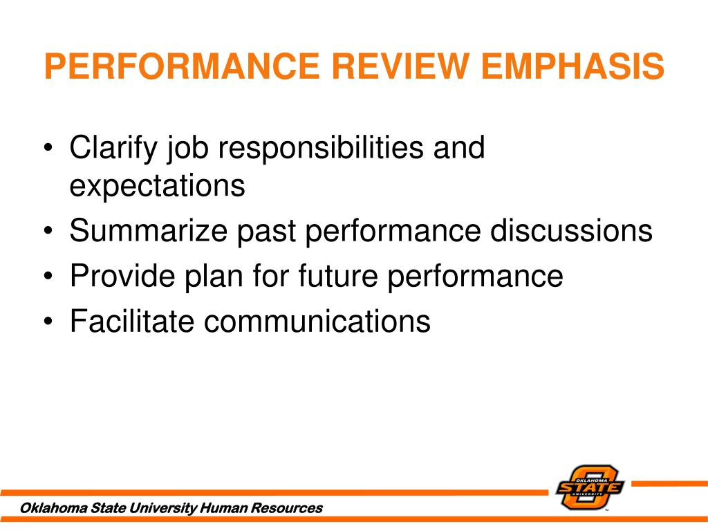 PERFORMANCE REVIEW EMPHASIS