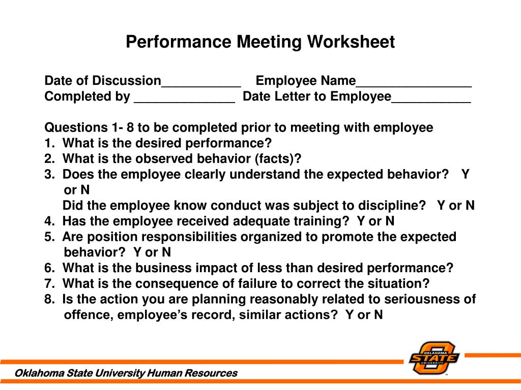 Performance Meeting Worksheet