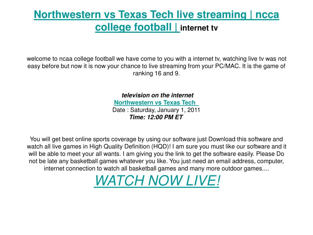 Northwestern vs Texas Tech live streaming | ncca college football |