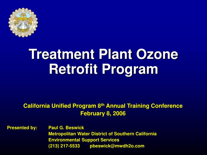 Treatment Plant Ozone