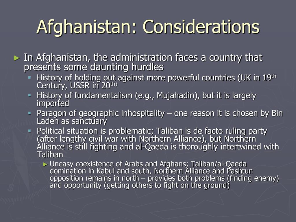 Afghanistan: Considerations