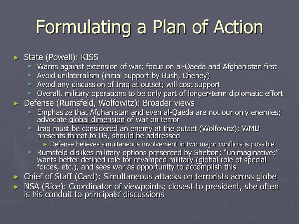 Formulating a Plan of Action