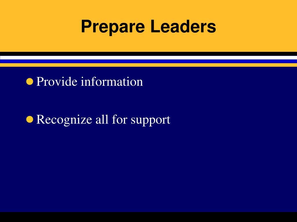 Prepare Leaders