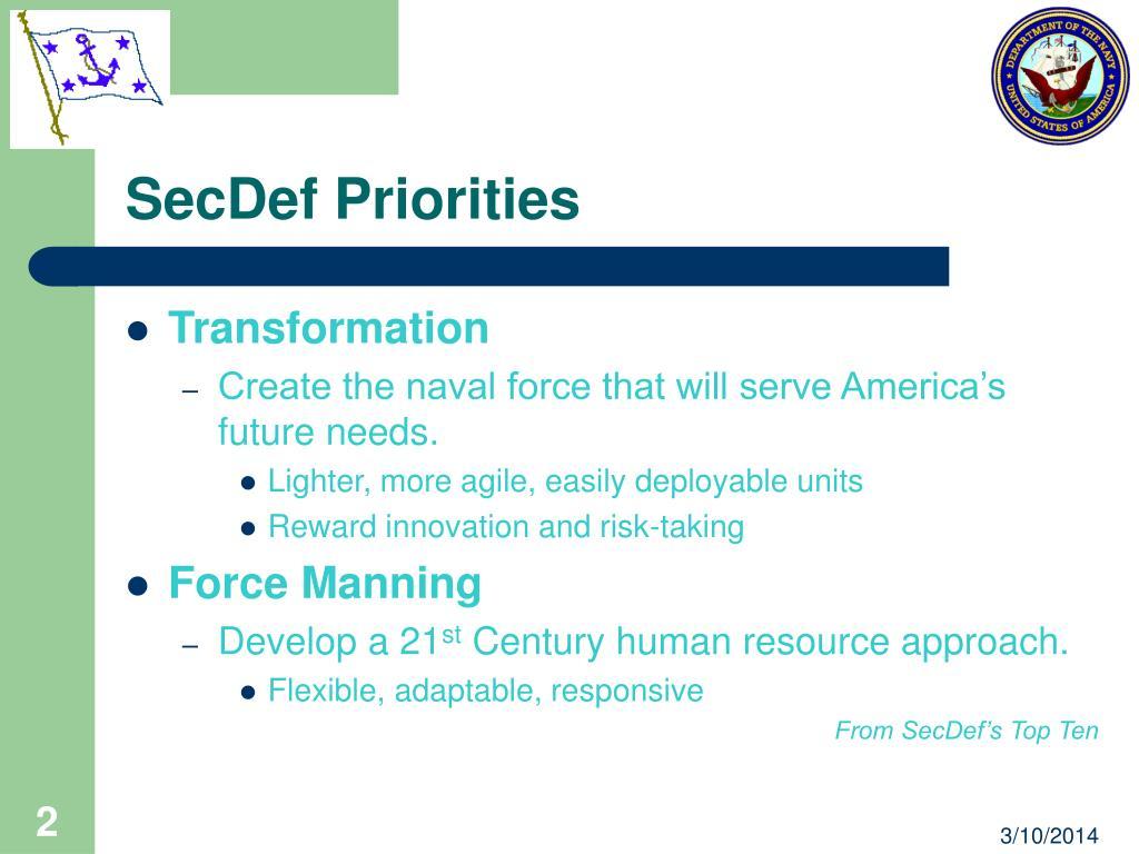 SecDef Priorities