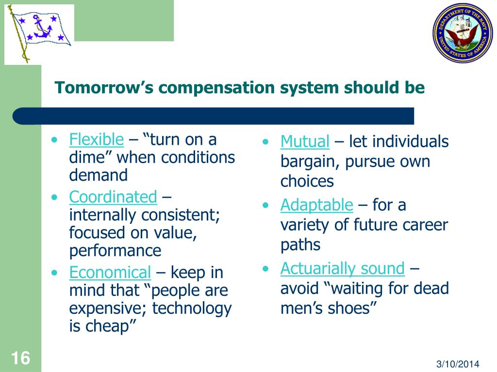 Tomorrow's compensation system should be