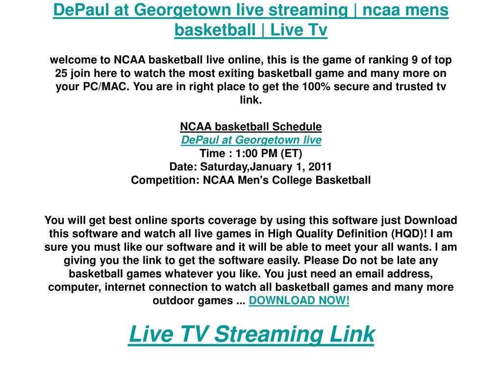 DePaul at Georgetown live streaming | ncaa mens basketball | Live Tv