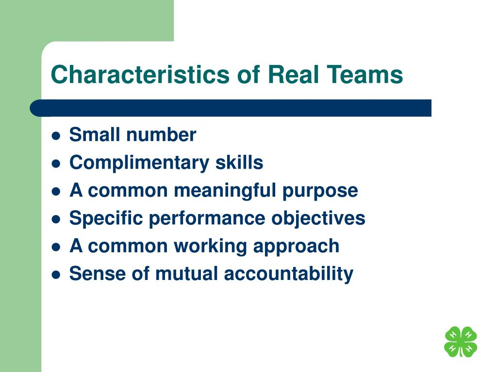Characteristics of Real Teams