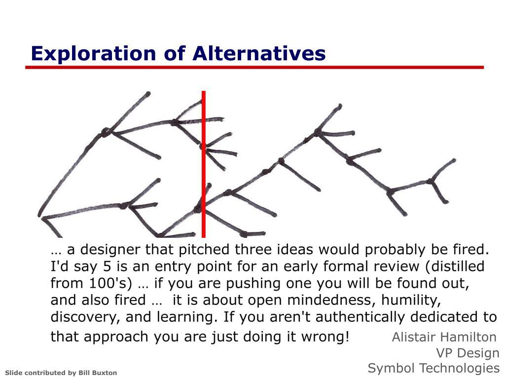 Exploration of Alternatives