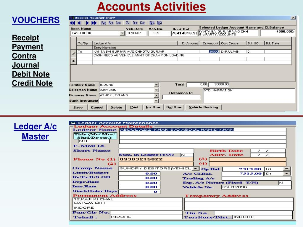 Accounts Activities