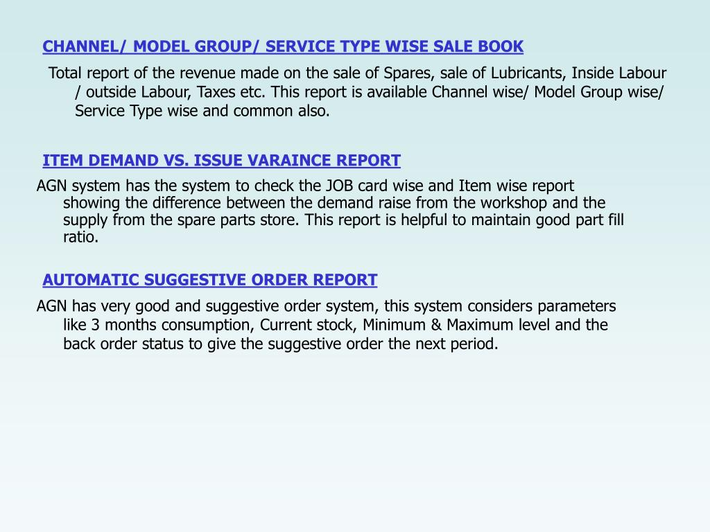 CHANNEL/ MODEL GROUP/ SERVICE TYPE WISE SALE BOOK
