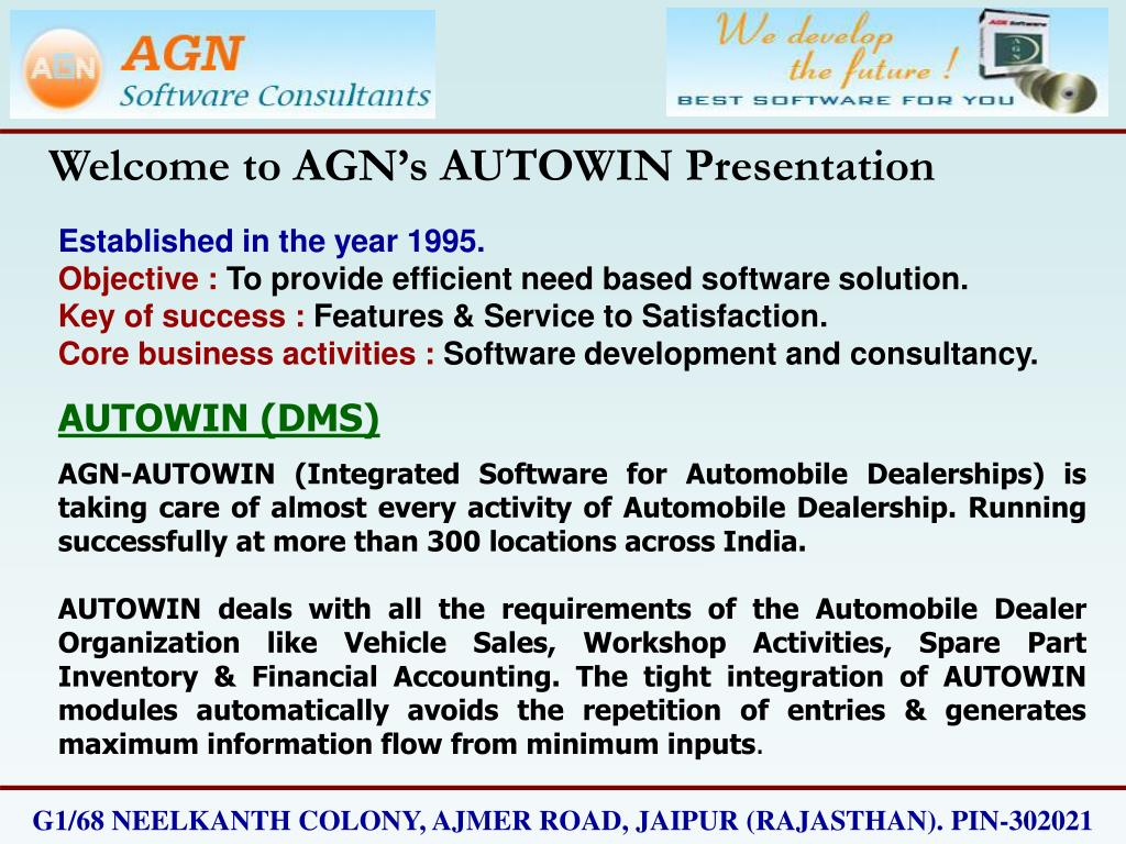 Welcome to AGN's AUTOWIN Presentation