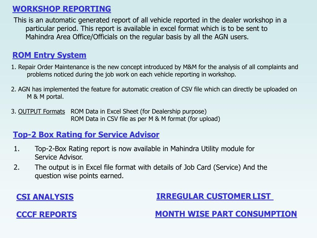 WORKSHOP REPORTING