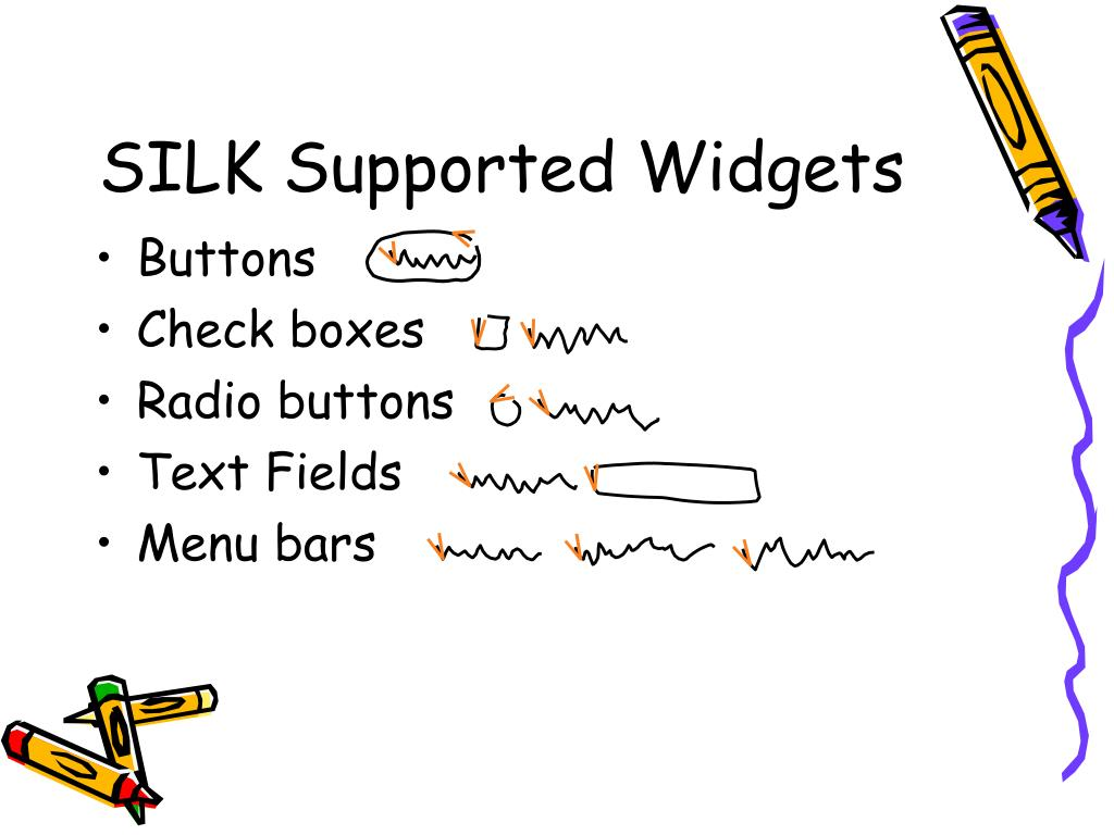 SILK Supported Widgets