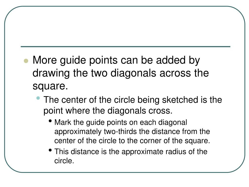More guide points can be added by drawing the two diagonals across the square.