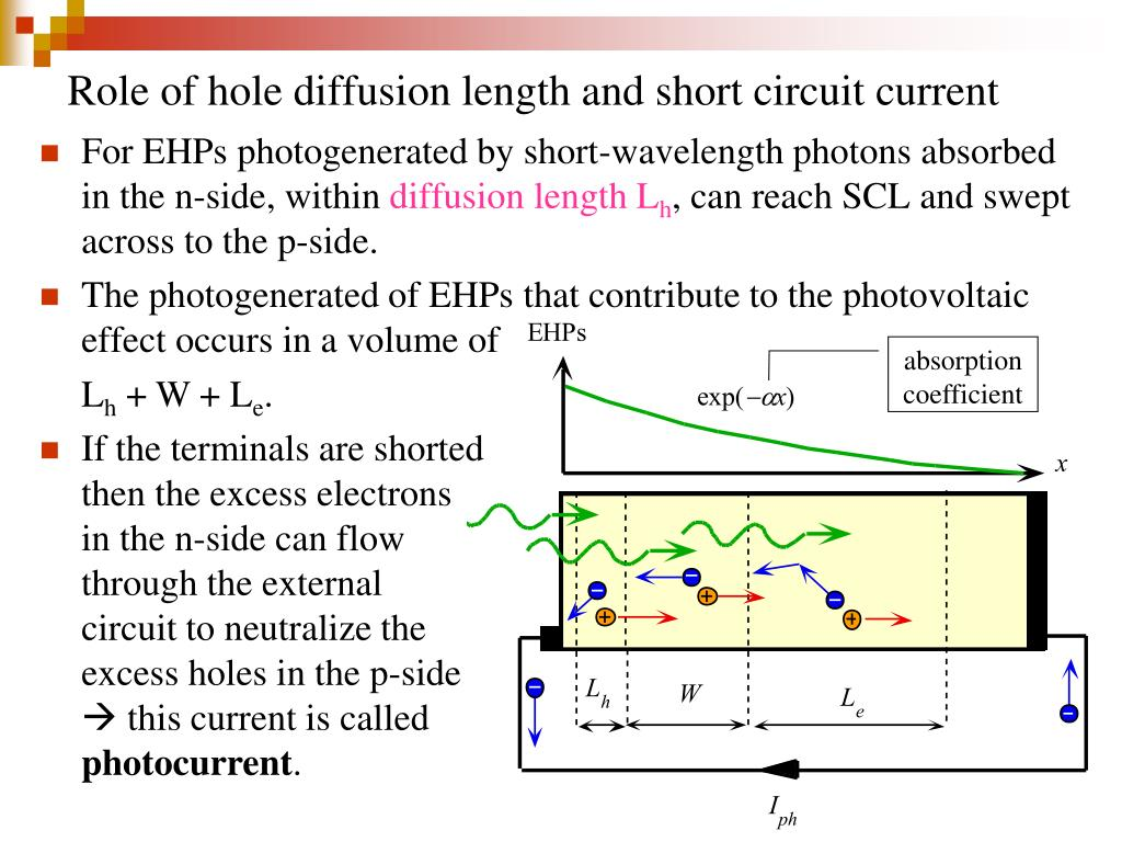 Role of hole diffusion length and short circuit current