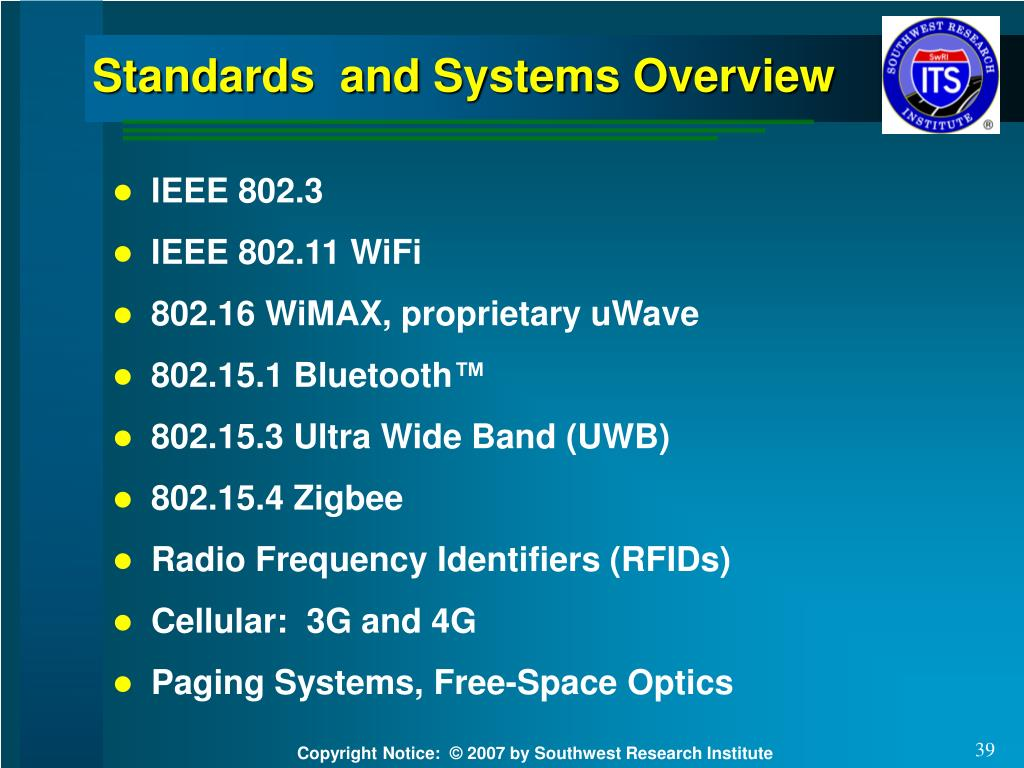Standards  and Systems Overview