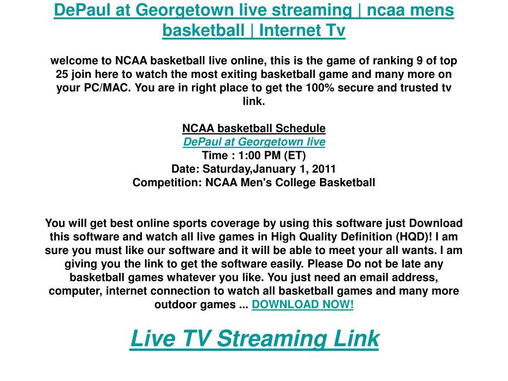 DePaul at Georgetown live streaming | ncaa mens basketball | Internet Tv