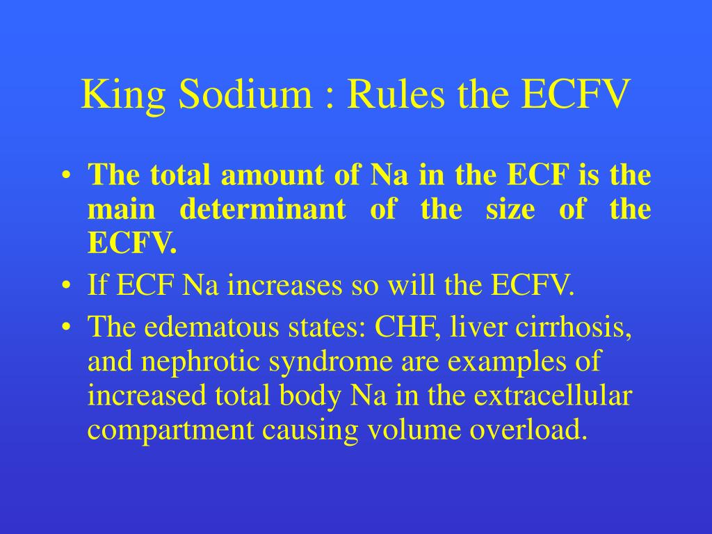 King Sodium : Rules the ECFV